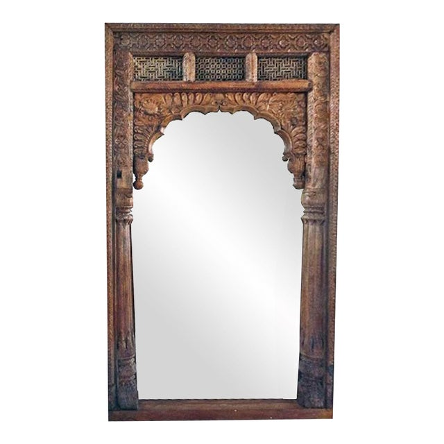 Antique Doorway Wooden Mirror For Sale