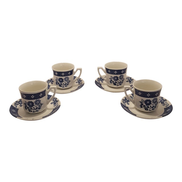 Royal Staffordshire Cathay J&g Meakin Cups & Saucers - Service for 4 For Sale