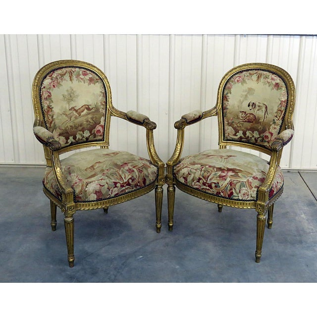 Pair of French Louis XVI Style Needlepoint Fauteuils For Sale - Image 11 of 11