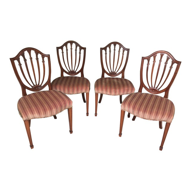 Hepplewhite Mahogany Shield Back Dining Chairs - Set of 4 For Sale - Image 9 of 9