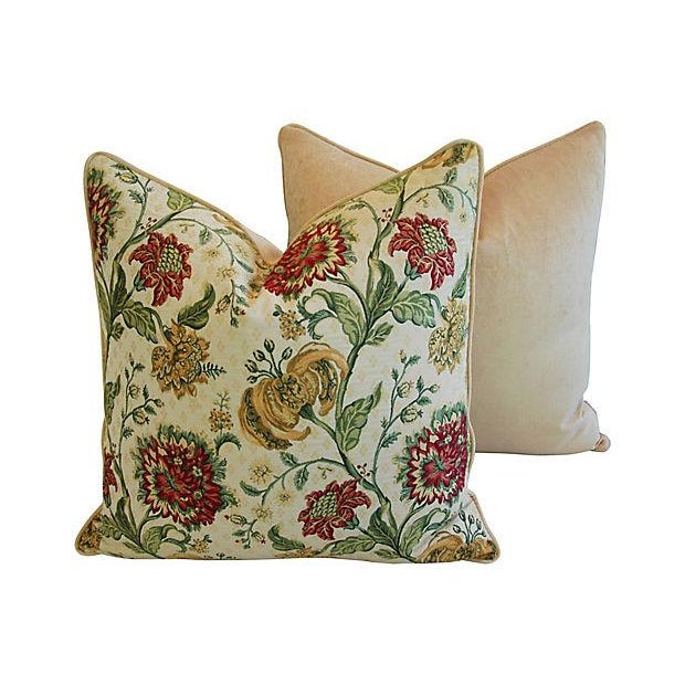"Custom Scalamandre Floral Brocade Feather/Down Pillows 24"" Square - Pair For Sale - Image 9 of 14"