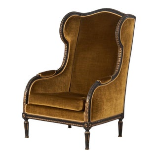French 19th Century Louis XVI Style Bergere Wing Chair For Sale