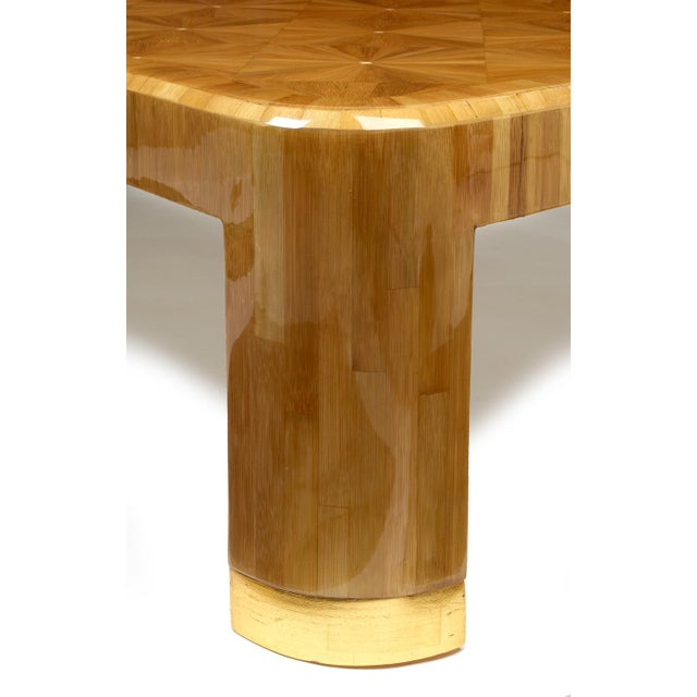 Gold Ron Seff Starburst Bamboo Marquetry Cocktail Table ca. 1980 For Sale - Image 8 of 10