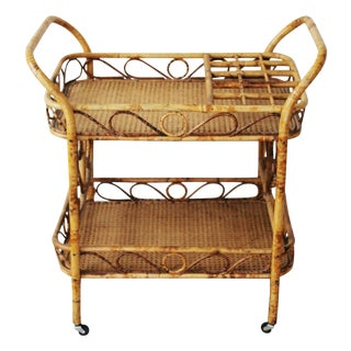 Tortoise Shell Style Rattan and Caning Bar Cart For Sale