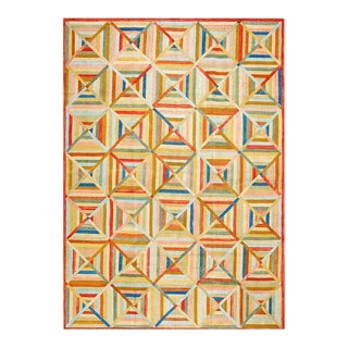 Geometric Quilting Pattern Handmade Orange Blue and Green Hooked Rug For Sale