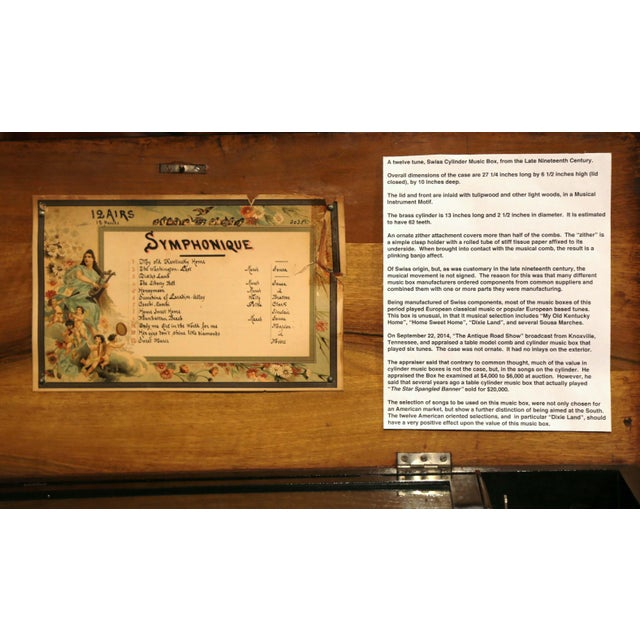 Large 19th Century Swiss Inlaid Walnut Cylinder Zither Music Box With 12 Songs For Sale - Image 4 of 11
