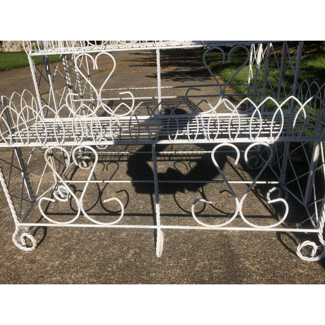 20th Century Cottage Ornate Metal Plant Stand For Sale - Image 4 of 9