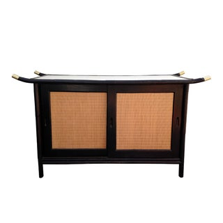 Vintage 1950s Rattan Pagoda Buffet Credenza For Sale