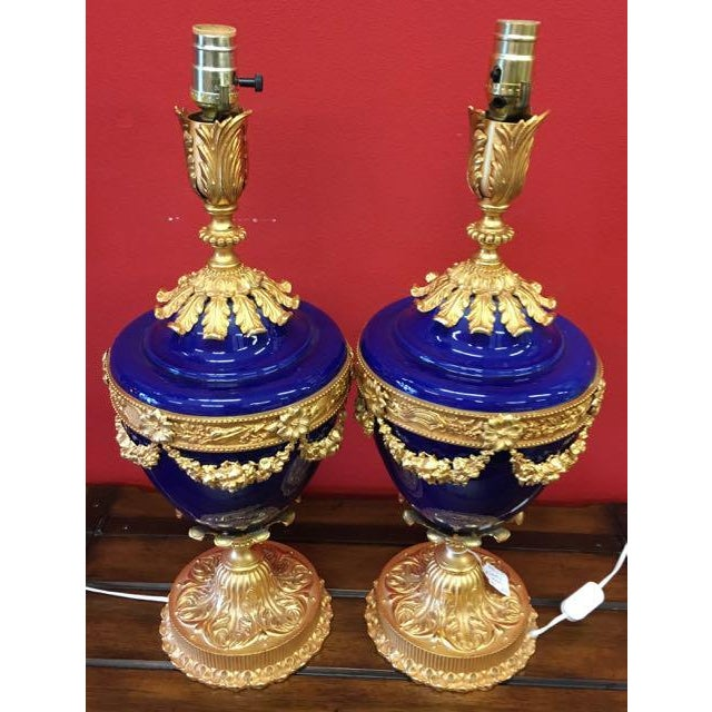 If your bedroom or living room needs an extra fancy, formal touch, get these fabulous cobalt urn lamps with glorious...