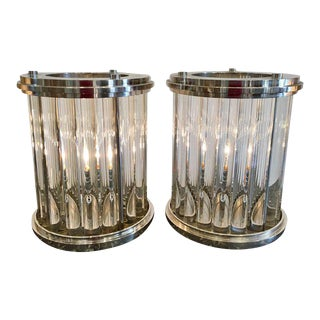 Art Deco Modernist Nickel & Glass Rod Lamps - a Pair For Sale