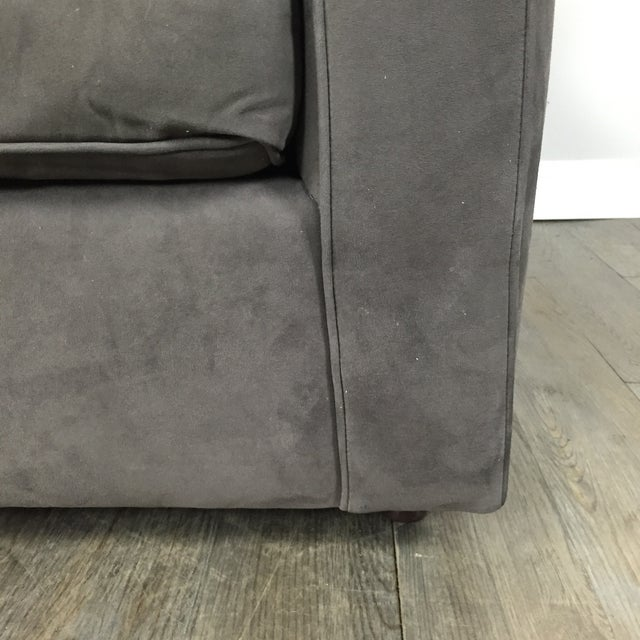 Room & Board Charcoal Suede Loveseat - Image 7 of 11