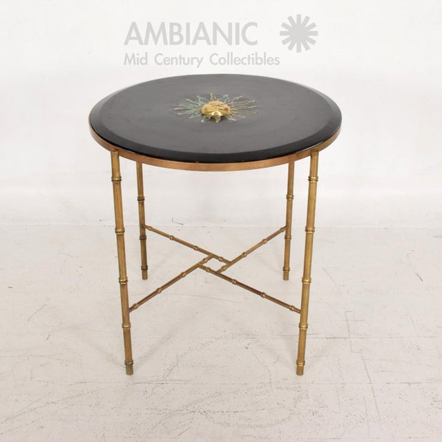 Mexican Modernist Center Table in Brass, Wood and Malachite, Pepe Mendoza For Sale - Image 9 of 9