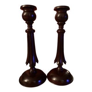 Late 20th Century Hand Carved Mahogany Candle Sticks From John Rosselli - a Pair For Sale