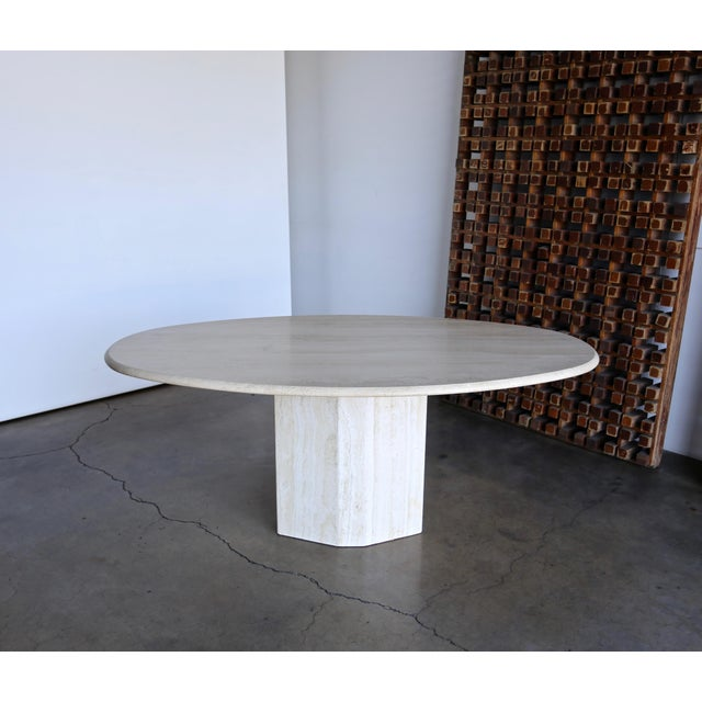 Travertine Oval Dining Table Circa 1980 For Sale - Image 11 of 11