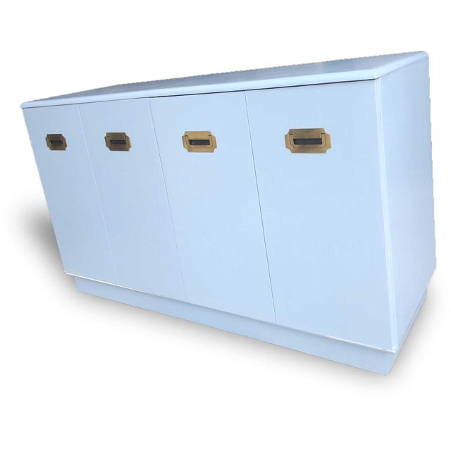 Mid-Century Modern 1960s Campaign Style Mid-Century Modern Credenza in Blue For Sale - Image 3 of 9