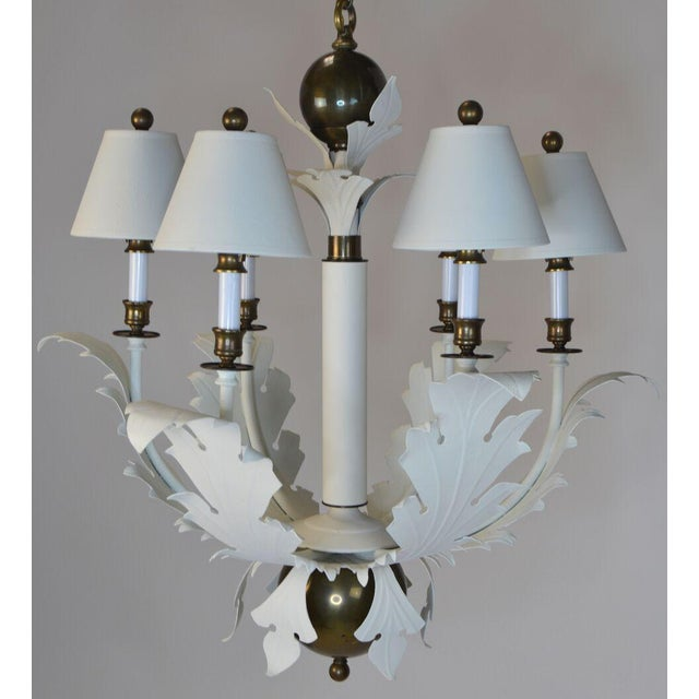 1980s Hart Scrolled Leaf Chandelier For Sale In Palm Springs - Image 6 of 8