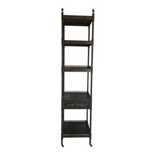 Asian Chinoiserie Black Etagere With One Pull Out Drawer For Sale