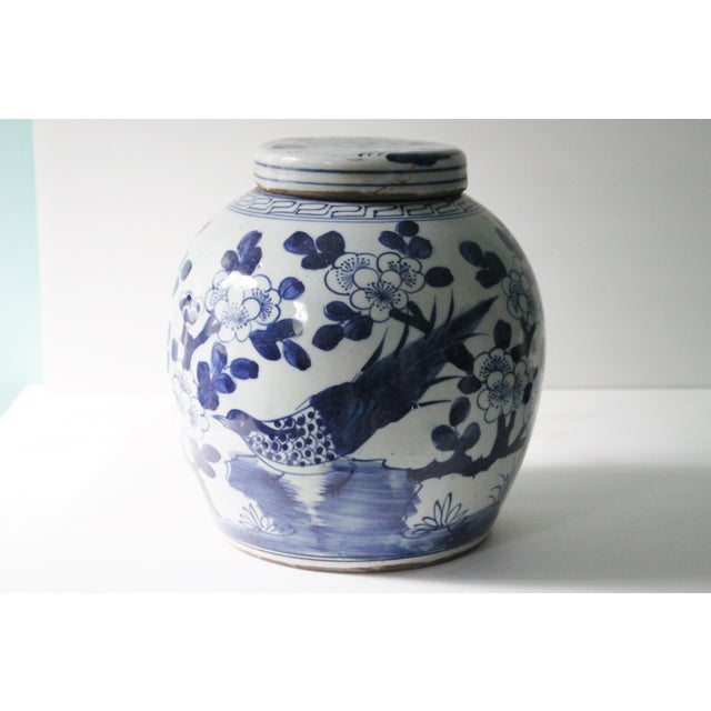 Blue & White Porcelain Chinoiserie Bird Jar - Image 2 of 5