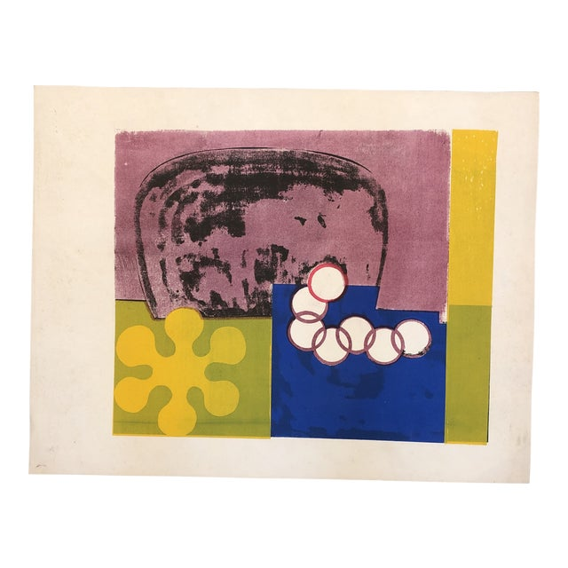 Original Vintage Mid Century Modern Abstract Lithograph For Sale