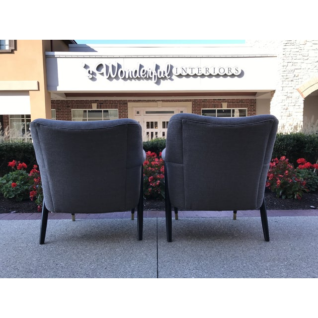 1950s Mid Century Modern Vintage Gray Tweed Dunbar Era Occasional Club Chairs- a Pair MCM For Sale - Image 5 of 8