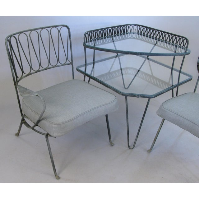 Black Pair of Italian 1950s Lounge Chairs and Table by Salterini For Sale - Image 8 of 9