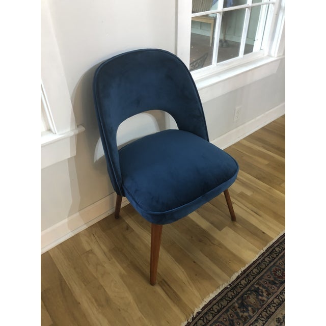 1950s Mid Century Cocktail Chair in Dark Teal Velvet For Sale - Image 9 of 9