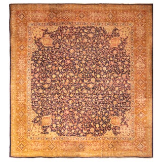 Antique Axminster Transitional Blue and Golden-Brown Wool Rug - 12′8″ × 13′6″ For Sale