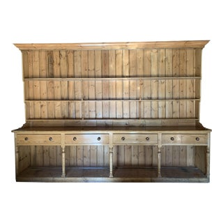 19th Century Country American Breakfront Pine Shelving Unit For Sale
