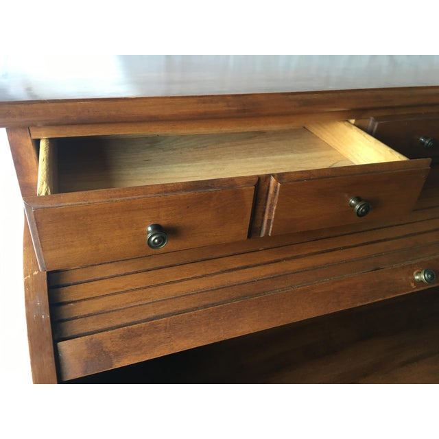 1970s Early American Tell City Chair Company Roll-Top Secretary Desk For Sale - Image 5 of 13