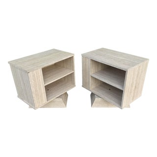 Vintage Faux Travertine Formica Pair of Nightstands For Sale