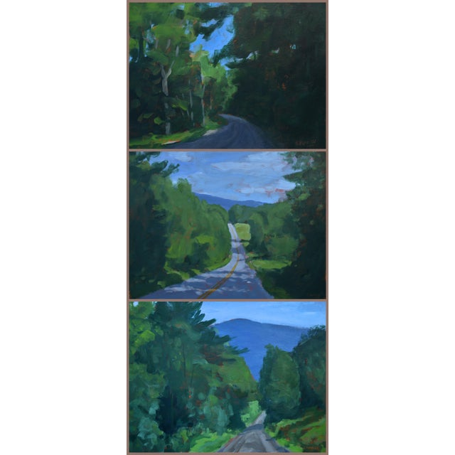"""Blue Stephen Remick """"Vermont Gravel Road With Blue Mountain"""" Contemporary 2010s Landscape Painting For Sale - Image 8 of 10"""