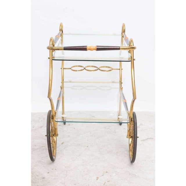 1950s Italian Brass and Glass Trolley Server For Sale - Image 9 of 10