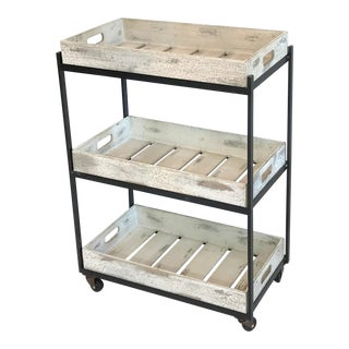 Industrial Distressed White Wood Removable Trays Bar Cart
