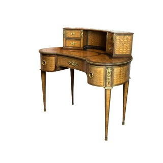 19th Century French Louis XVI Style Gilt Bronze-Mounted Kidney Shaped Desk For Sale