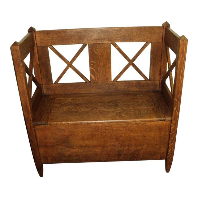 Antique Arts & Crafts Mission Oak Hall Storage Bench For Sale - Antique Arts & Crafts Mission Oak Hall Storage Bench Chairish