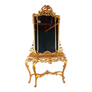 Rococo Marble Top Side Table With Mirror For Sale