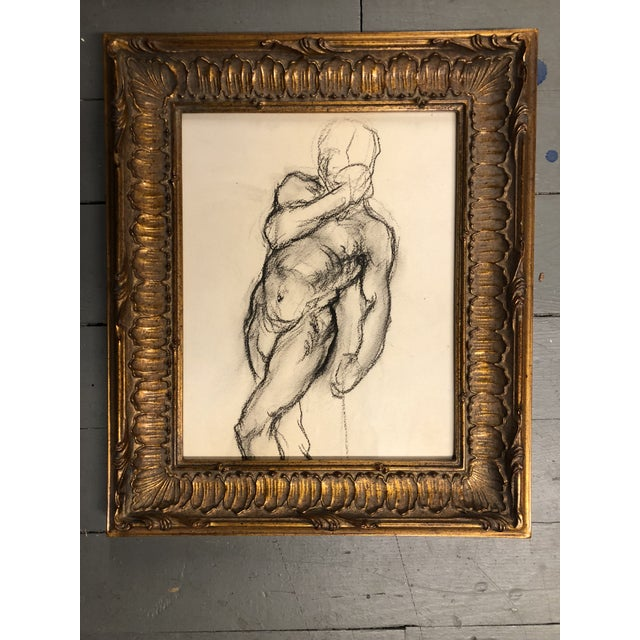 Art Deco Gallery Wall Collection 3 Original Male Charcoal Studies 1930's For Sale - Image 3 of 6