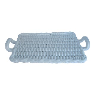 White Basket-weave Italian Serving Tray For Sale