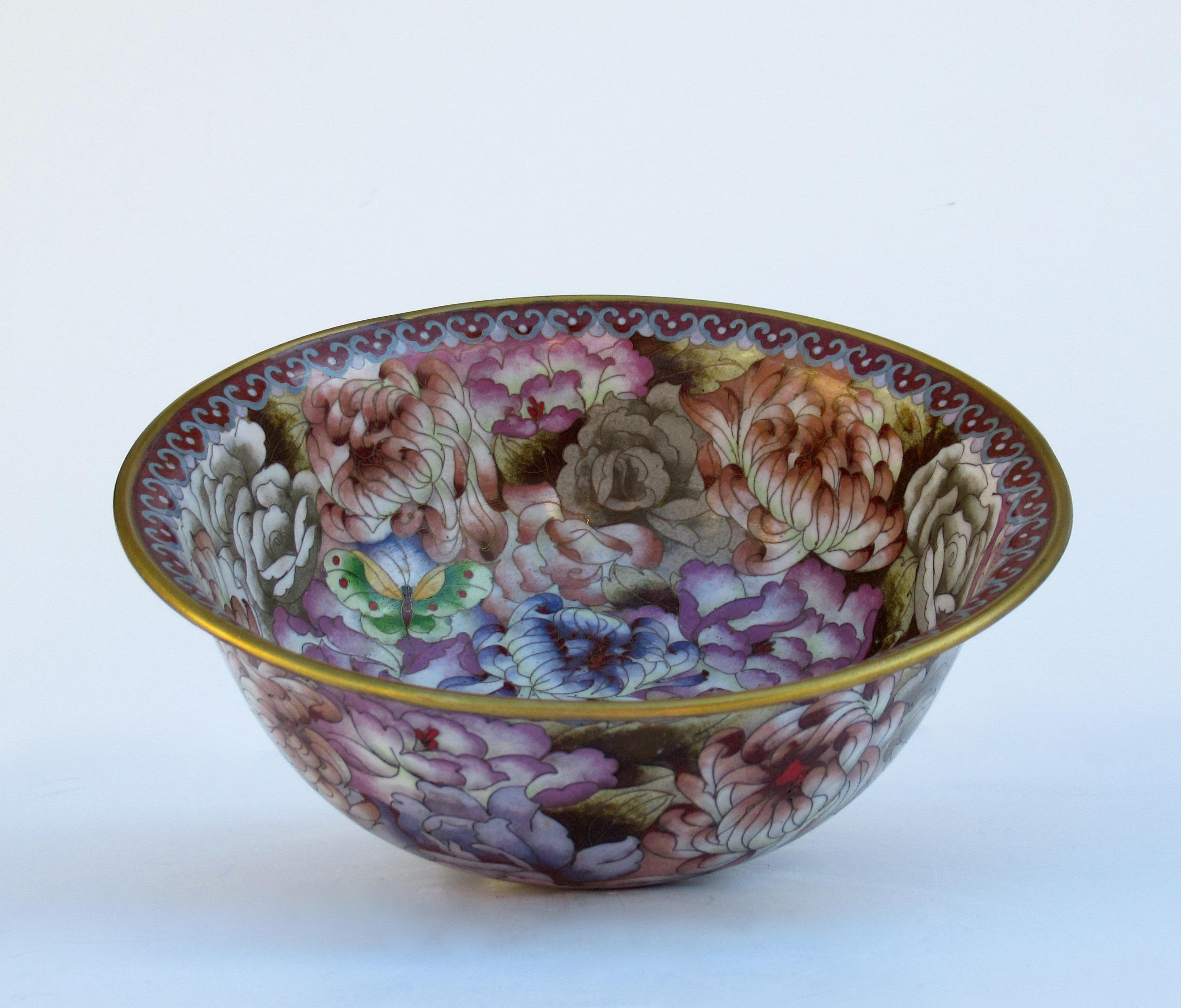 Gift Asian decor bowl Vintage Asian Chrysanthemum Cloisonne Bowl Decor beautiful bowl serving On sale Cloisonne