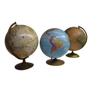 Vintage Tabletop Globes - Set of 3 For Sale