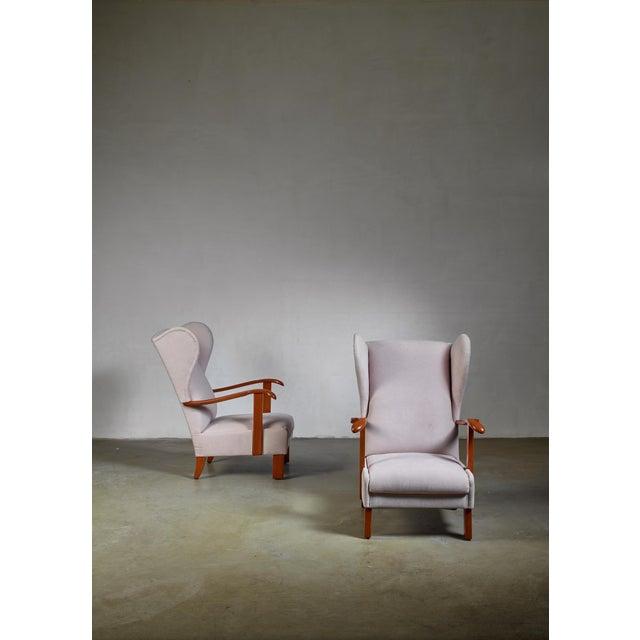 Fritz Hansen Pair of Fritz Hansen Wingback Lounge Chairs, Denmark, 1930s For Sale - Image 4 of 5