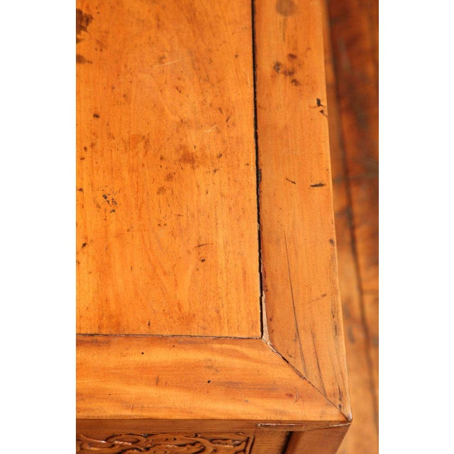 Brown Chinese, 19th Century, Natural Elm Antique Console Table with Carved Decor For Sale - Image 8 of 11