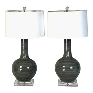 Contemporary Hand-Thrown Ceramic Lamps - a Pair For Sale