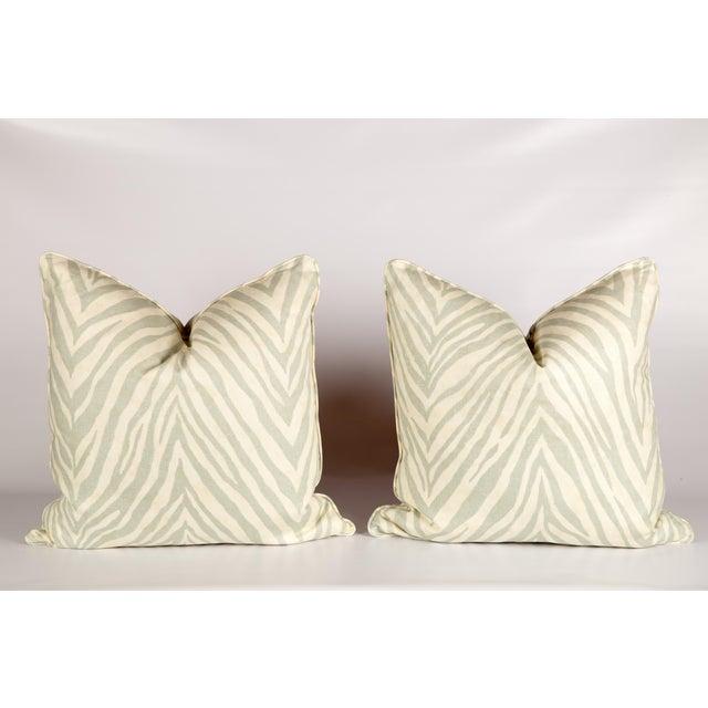 Seafoam Green Linen Zebra Pillows - Pair - Image 2 of 3