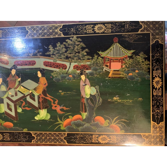 Mid 20th Century Asian (Chinoiserie) Black Lacquer Hand-Painted Buffet or Sideboard For Sale - Image 4 of 6