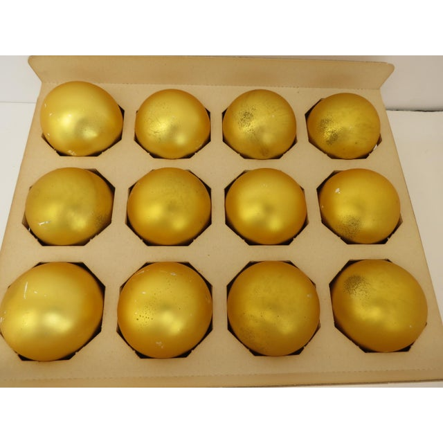 Vintage Shiny Brite Yellow Christmas Ornaments - Set of 12 - Image 2 of 4