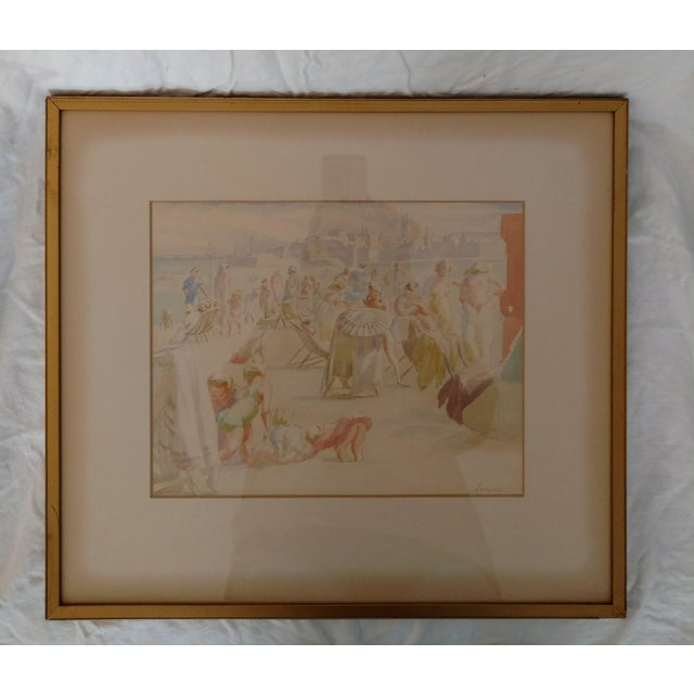 1920s 1920 French Nude Beach by Thérèse Lessore Paintings - a Pair For Sale - Image 5 of 13