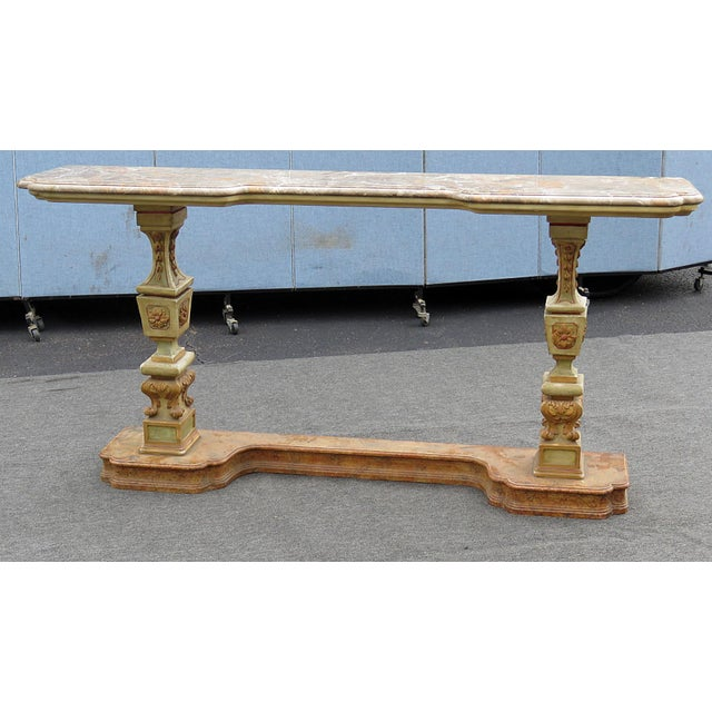 Florentine paint decorated marble top console table.