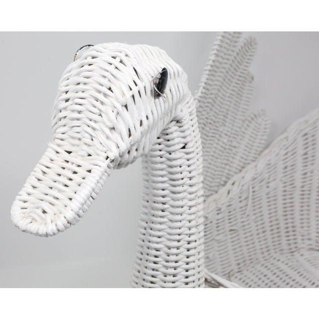 Vintage Large White Wicker Swan Basket For Sale - Image 9 of 11