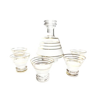 1960s Cocktail Glass Decanter & Glasses with Frost and Gold Detailing - Set of 6 For Sale